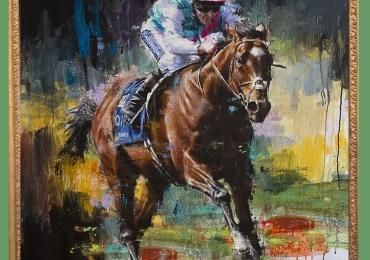 Tablou cu cal alergand la cursa, tablou abstract multicolor, tablou cu animale salbatic