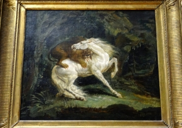Tablou cu cal atacat de un tigru, tablou cu animale salbatice, tablouri cu animale pict
