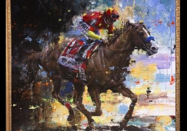 Tablou cu cal de curse intr-un peisaj abstract, tablou abstract dimensiune mare