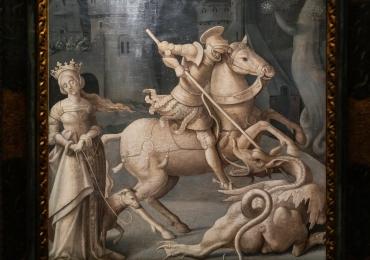 Tablou cu cal, dragon si Sf Ghiorghie, tablou cu animale salbatice, tablouri cu animal