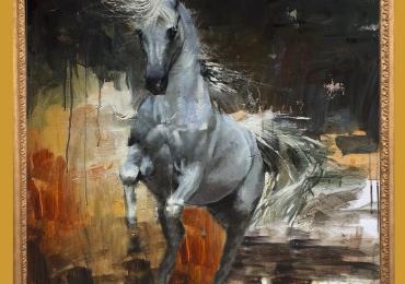 Tablou cu cal intr-un peisaj abstract, tablou cu animale salbatice, tablouri cu animale