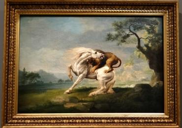 Tablou cu cal si leu, Horse Attacked by a Lion, George Stubbs tablou cu animale salb
