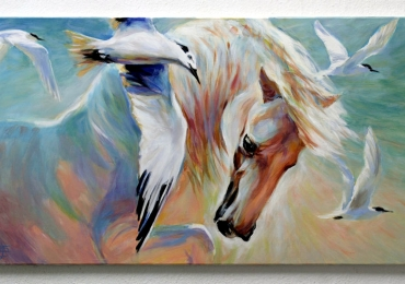 Tablou cu cal si pescarusi, tablou cu animale salbatice, tablouri cu animale pictate, ta