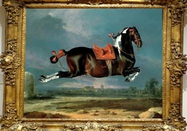 Tablou cu cal zburator, The Piebald Horse Cehero Rearing, Johann Georg von Hamil