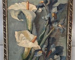 Tablou cu cale inflorite, tablou cu flori natura moarta, tablou pictat manual in ulei pe panz