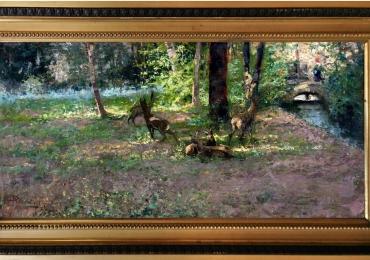 Tablou cu  caprioare in padure, tablou cu peisaj forestier, tablou cu animale salbatice,