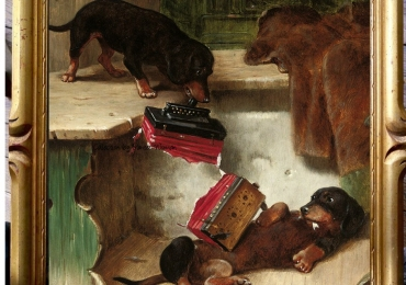 Tablou cu catei jucandu-se cu acordeonul, tablou cu animale salbatice, tablouri cu an