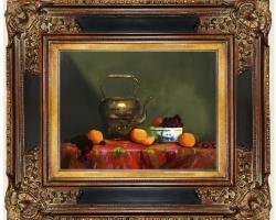 Tablou cu ceainic si fructe asezate pe o masa,Tablou natura moarta, tablou pictat manual in ulei