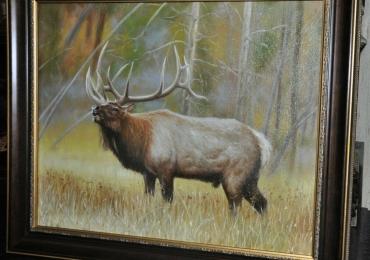 Tablou cu cerb in padure, Tablou cu peisaj de vara, tablou cu animale salbatice, tablo