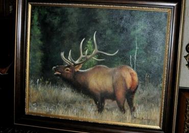 Tablou cu cerb in padure, tablou cu animale salbatice, tablouri cu animale pictate, tab
