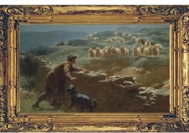 Tablou cu cioban caine si oi, tablou cu animale salbatice, tablouri cu animale pictate,