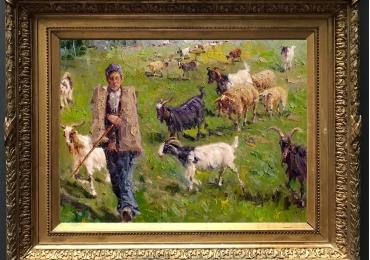 Tablou cu cioban si turma de capre intr-un peisaj de vara, tablou cu animale salbatice