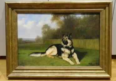 Tablou cu ciobanesc german, tablou cu animale salbatice, tablouri cu animale pictate,