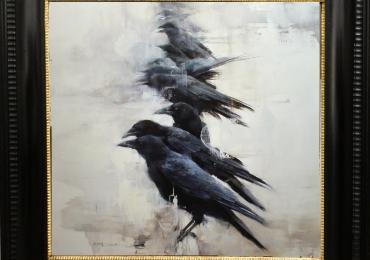 Tablou cu ciori, tablou abstract dimensiune mare, tablou cu animale salbatice, tablour