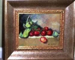 Tablou cu cirese coapte natura moarta, tablou pictat manual in ulei pe panz