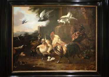 Tablou cu cocosi si alte pasari domestice, tablou cu animale salbatice, tablouri cu ani