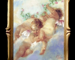 Tablou cu copii cu ariprioare, tablou cu ingerasi, Tablou pictat natura moarta, tablou natura statica, idei de cadouri pentru ocazii deosebite