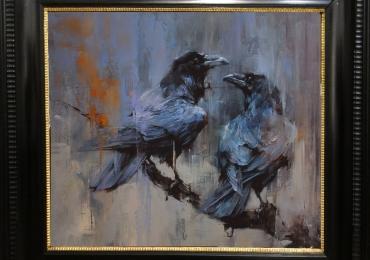 Tablou cu corbi, tablou abstract dimensiuni mari, tablou cu animale salbatice, tablour