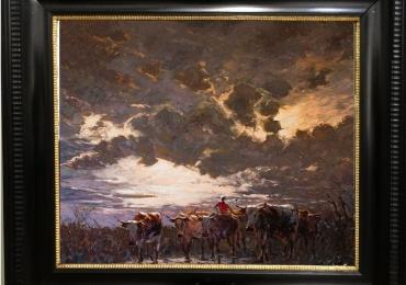 Tablou cu cornute intr-un peisaj la apus de soare, tablou cu animale salbatice, tablour