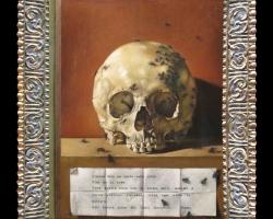 Tablou cu craniu si document, Tablou pictat natura moarta,tablou natura statica, idei de cadouri pentru ocazii deosebite