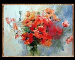 Tablou cu cuchet de flori, Tablou cu tema abstracta, tablou inmpresionist, tablou sufragerie, tablou dimensiune mare, tablou cu maci rosii