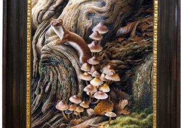 Tablou cu dihor in padure si ciuperci tablou cu animale salbatice, tablouri cu animale