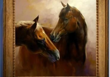 Tablou cu doi cai bruni,  tablou cu animale salbatice, tablouri cu animale pictate, tabl