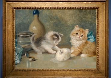 Tablou cu doua pisicute, tablou cu animale salbatice, tablouri cu animale pictate, tabl