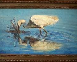 Tablou cu egreta pescuind, peisaj cu egreta pe lac, tablou cu peisaj de vara, tablou cu pasari