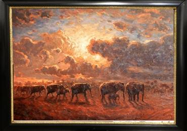 Tablou cu elefanti in savana , tablou cu peisaj la apus de soare, tablou cu animale sal