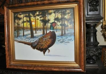 Tablou cu fazan in zapada, tablou cu animale salbatice, tablouri cu animale pictate, ta