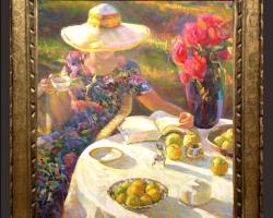 Tablou cu femeie in gradina, tablou pictat cu  buchet de flori asezat pe masa, Tablou floral, aranjamente  florale pentru ocazii deosebite
