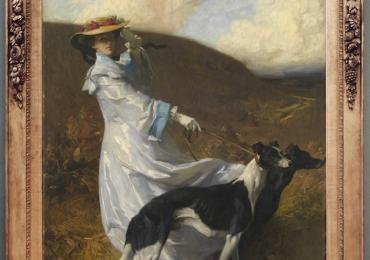 Tablou cu femeie si caini ogari afgani, tablou cu animale salbatice, tablouri cu anima