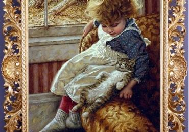 Tablou cu fetita asezata pe un fotoliu langa pisica ei, tablou cu animale salbatice, tabl