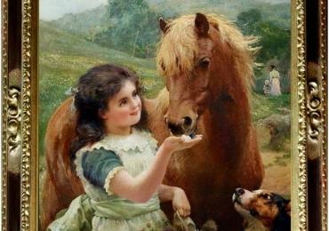 Tablou cu fetita si cal in peisaj de vara, tablou cu animale salbatice, tablouri cu anima