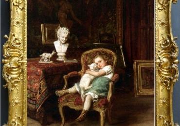 Tablou cu fetita si pisica ei, tablou cu animale salbatice, tablouri cu animale pictate, t