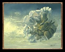 Tablou cu floare alba si furnici, Tablou cu tema abstracta, tablou inmpresionist, tablou sufragerie, tablou dimensiune mare, tablou cu flori