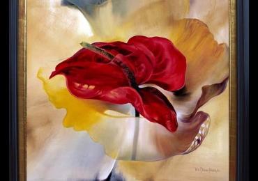 Tablou cu floare supradimensionata, Tablou cu tema abstracta, tablou inmpresionist, tablou sufragerie, tablou dimensiune mare, tablou cu flori