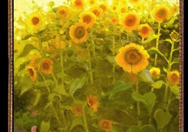 Tablou cu floarea soarelui, Tablou cu tema abstracta, tablou inmpresionist, tablou sufragerie, tablou dimensiune mare, tablou cu flori galbene