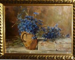Tablou cu floicele albastre in vas de lut, natura moarta, tablou pictat manual in ulei pe panz