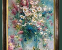 Tablou cu flori Coacaza, tablou cu flori de Sânziene de munte, tablou cu flori de pupezele, Tablou floral, aranjamente  florale pentru ocazii deosebite