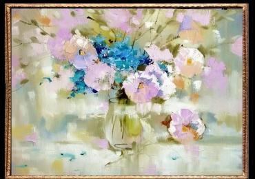 Tablou cu flori, Tablou cu tema abstracta, tablou culori pastelate, tablou sufragerie, idei cadouri, cadou 1 martie, cadou 8 martie