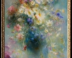 Tablou cu flori, Tablou cu tema abstracta, tablou inmpresionist, tablou sufragerie, tablou dimensiune mare, tablou cu flori de camp