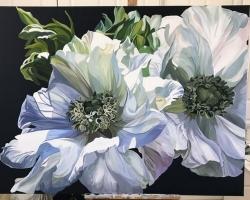 Tablou cu flori albe inflorite, tablou pictat manual in ulei pe panz