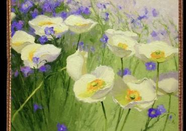 Tablou cu flori de camp, Tablou cu tema abstracta, tablou inmpresionist, tablou sufragerie, tablou dimensiune mare, tablou cu flori salbatice