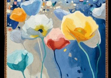 Tablou cu flori de camp, Tablou cu tema abstracta, tablou inmpresionist, tablou sufragerie, tablou dimensiune mare, tablou cu maci