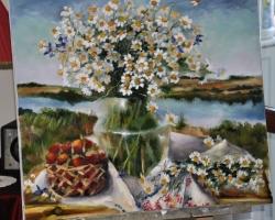 Tablou cu flori de camp, pictura cu buchet de flori, atura moarta, tablou pictat manual in ulei pe