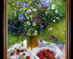 Tablou cu flori de camp, tablou cu capsuni, Tablou pictat cu buchet de flori in gradina de vara, Tablou floral, aranjamente  florale