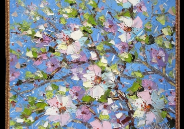 Tablou cu flori de ciresi, , Tablou cu tema abstracta, tablou inmpresionist, tablou sufragerie, tablou dimensiune mare, tablou cu ramuri de flori