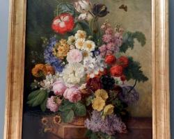 Tablou cu flori de gradina, natura moarta, tablou pictat manual in ulei pe panz